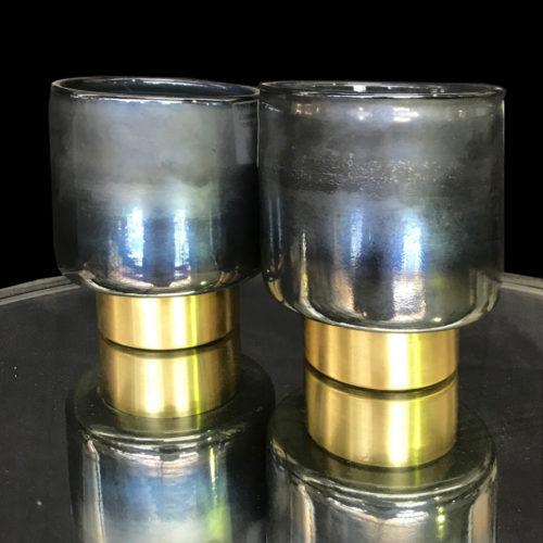 Lustre Wax Candle Holder Small Grey